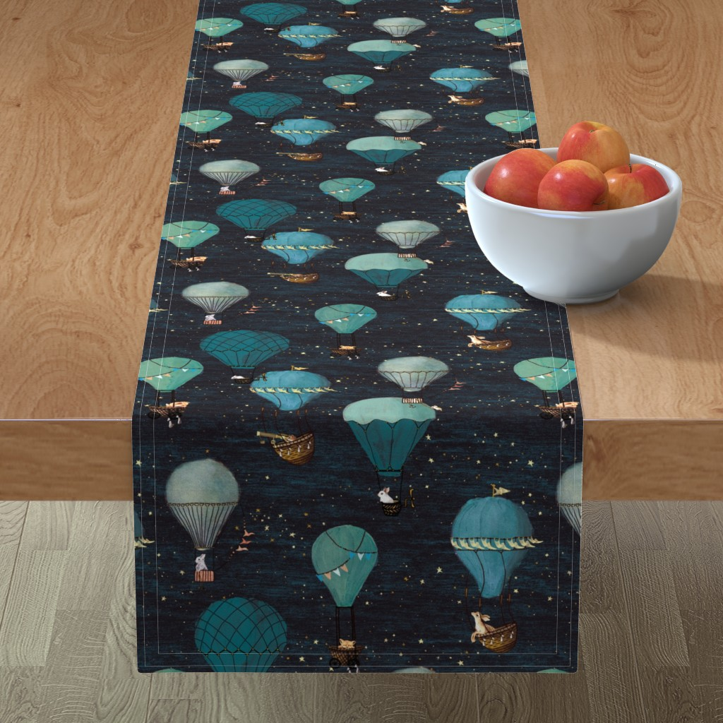 Minorca Table Runner featuring Forest Animal Hot Air Balloon Night Adventure by at_the_cottage