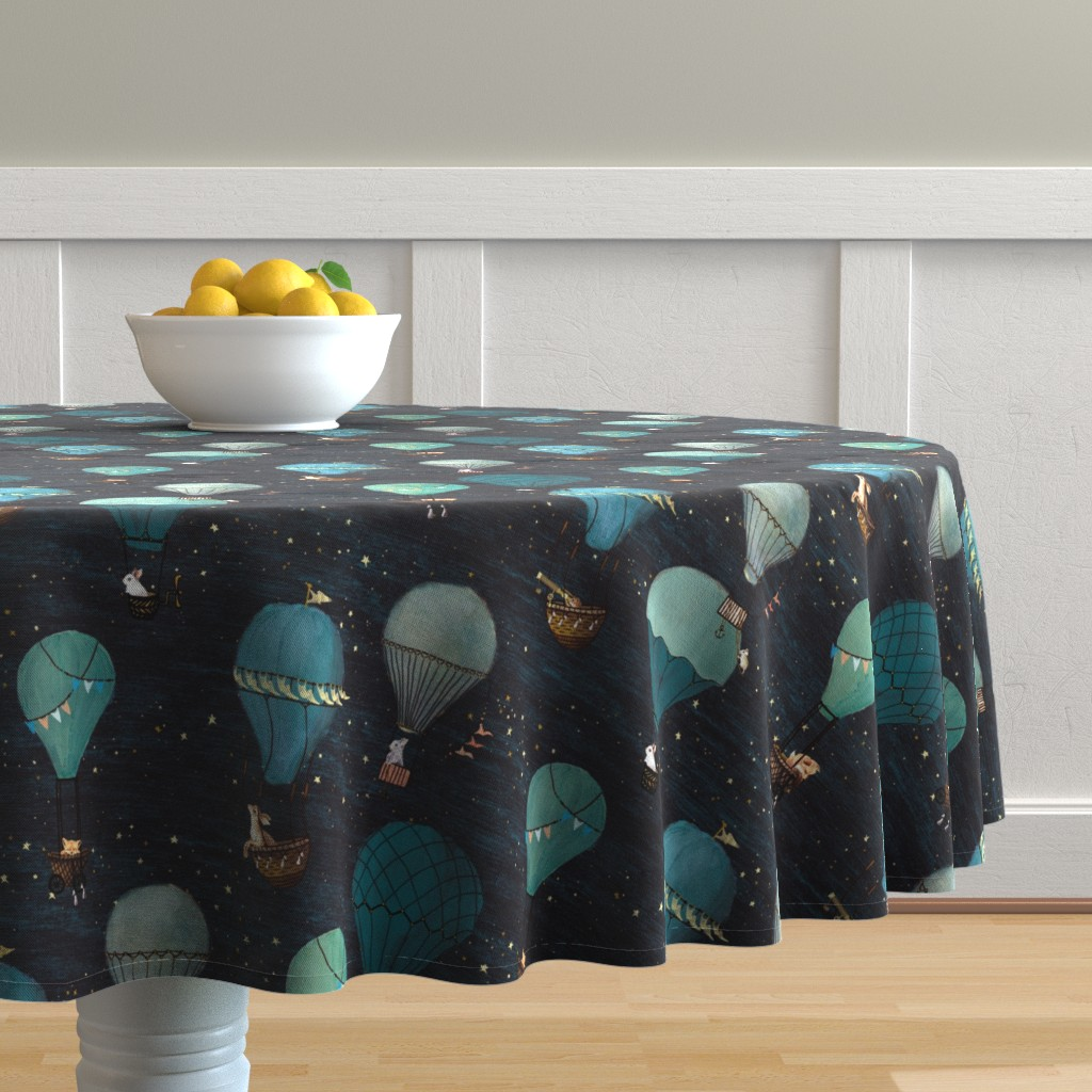 Malay Round Tablecloth featuring Forest Animal Hot Air Balloon Night Adventure by at_the_cottage