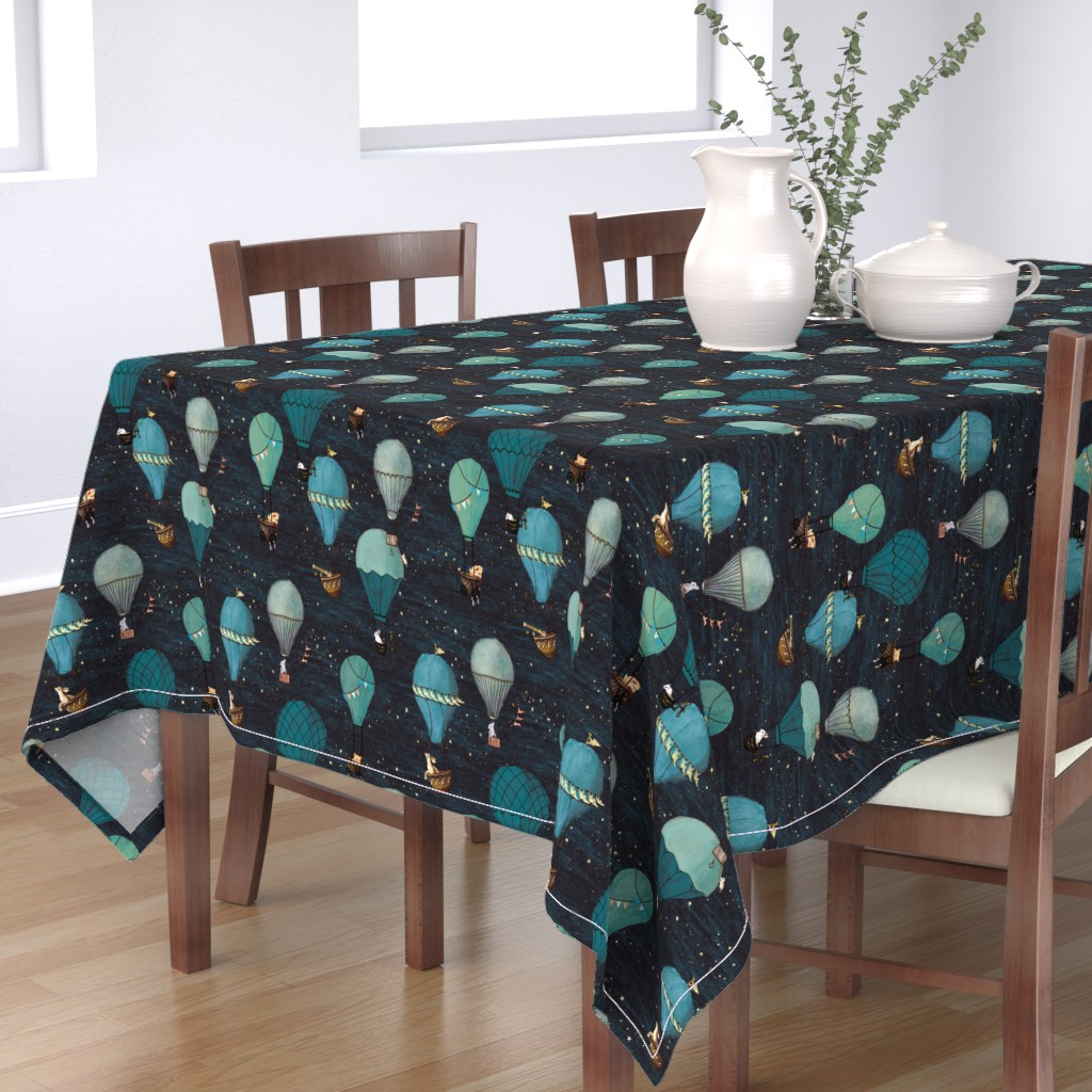 Bantam Rectangular Tablecloth featuring Forest Animal Hot Air Balloon Night Adventure by at_the_cottage