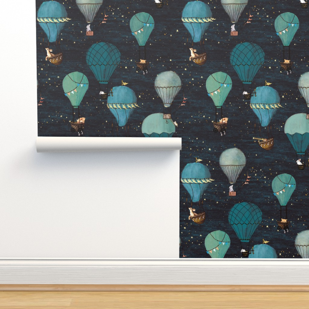 Isobar Durable Wallpaper featuring Forest Animal Hot Air Balloon Night Adventure by at_the_cottage