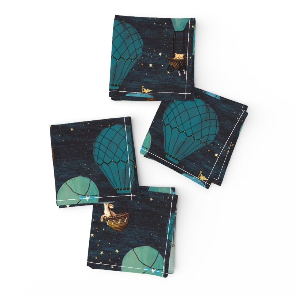 Frizzle Cocktail Napkins featuring Forest Animal Hot Air Balloon Night Adventure by at_the_cottage