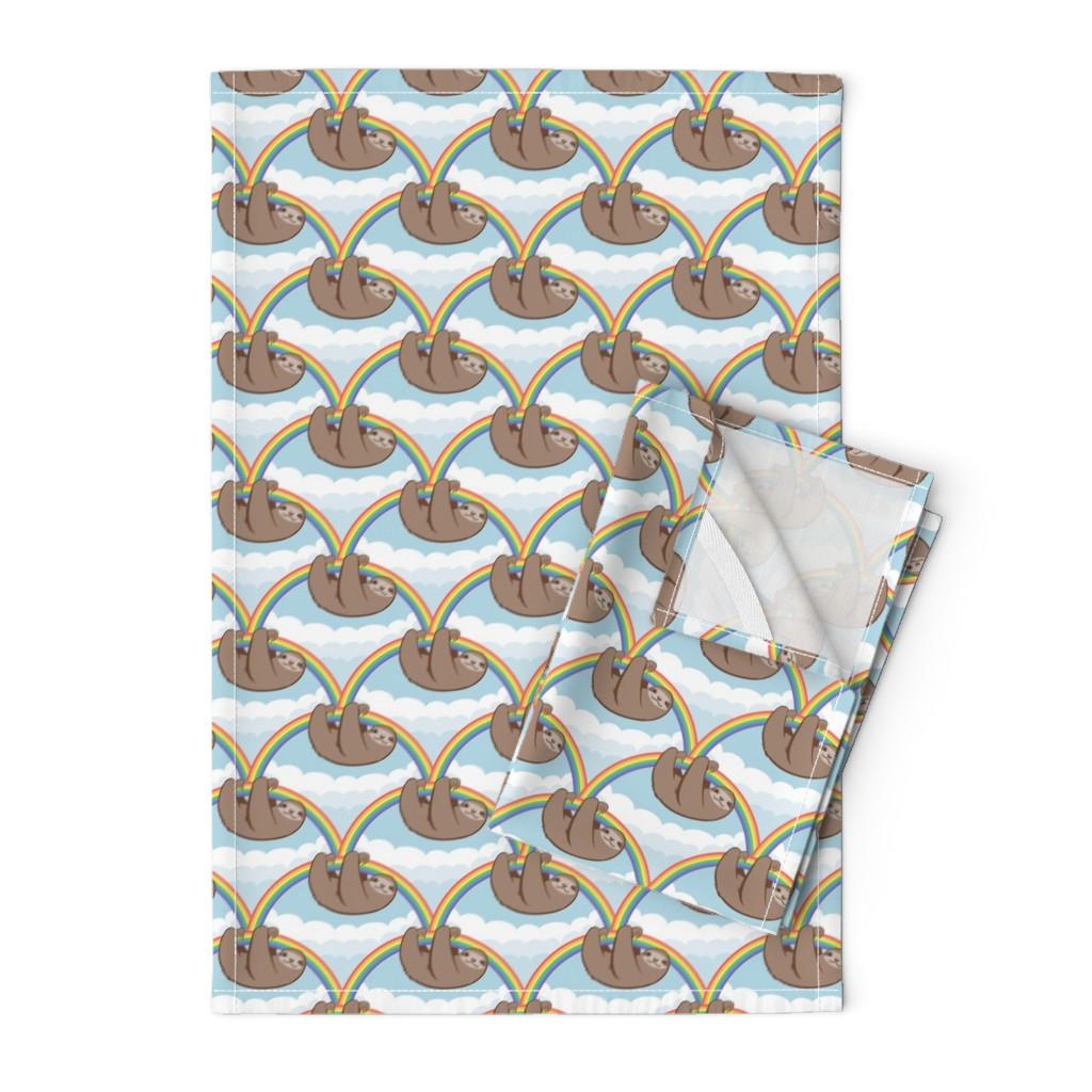 Orpington Tea Towels featuring Rainbow Sloths by autumn_musick