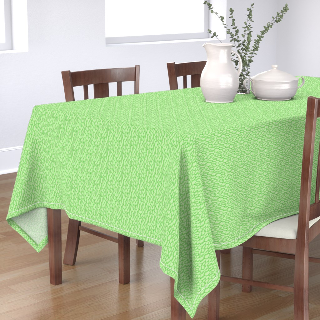 Bantam Rectangular Tablecloth featuring Overlapping Leaves - Light Green - Small by autumn_musick