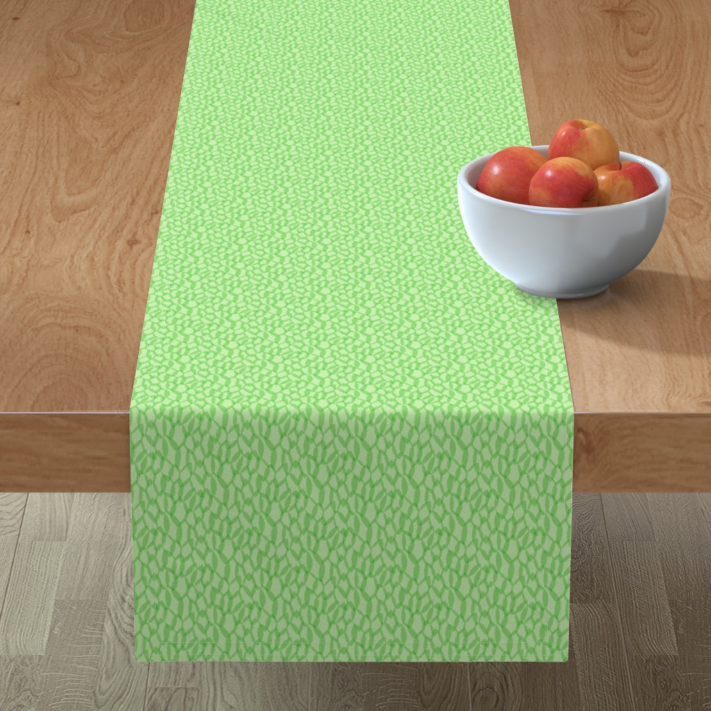 Minorca Table Runner featuring Overlapping Leaves - Light Green - Small by autumn_musick