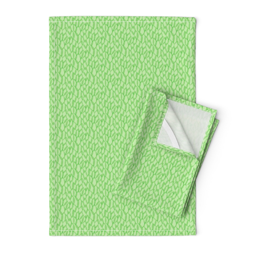 Orpington Tea Towels featuring Overlapping Leaves - Light Green - Small by autumn_musick