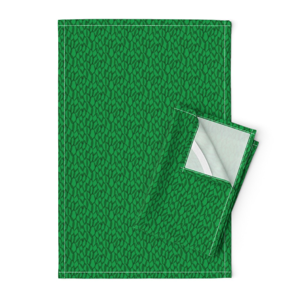 Orpington Tea Towels featuring Overlapping Leaves - Dark Green - Small by autumn_musick