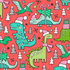 Christmas Holidays Dinosaurs & Trees on Red