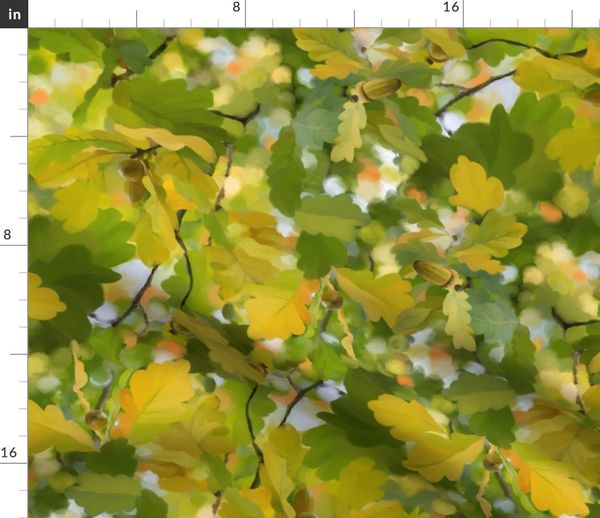 Baum Blatter Gelb Herbst Natur Grun Blatt Gemalt Spoonflower