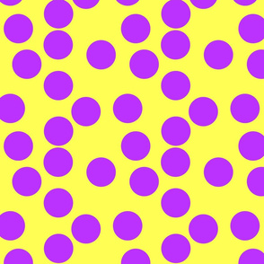Dots Large Purple on Yellow