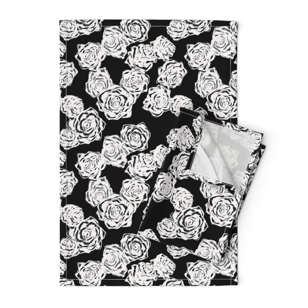 Orpington Tea Towels featuring inky white roses by jeger_studio