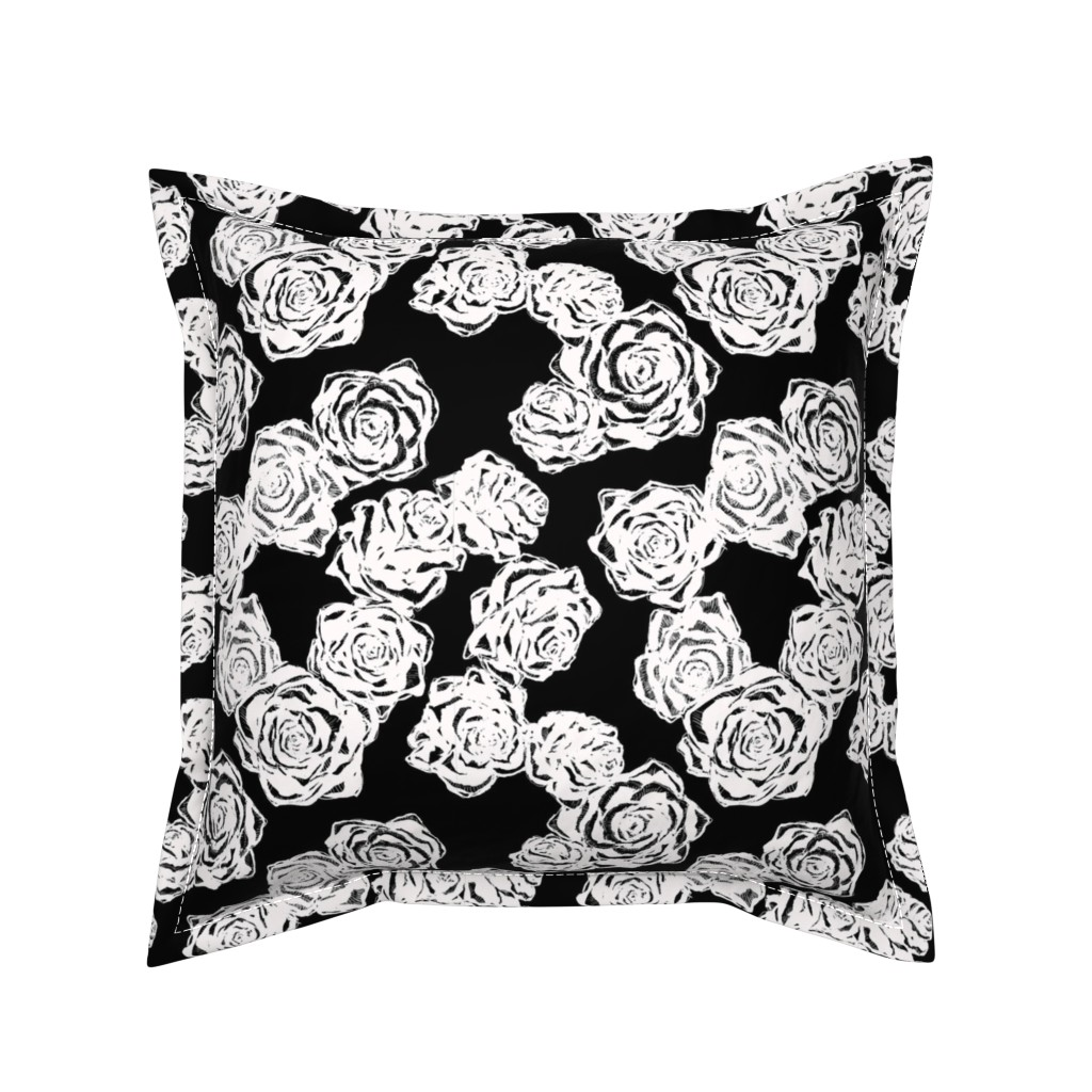Serama Throw Pillow featuring inky white roses by jeger_studio