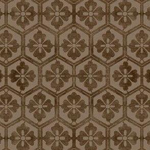 Japanese Hexagonal Stencil fabric - antique brown