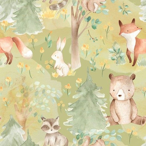 "10"" Woodland Animals - Baby Animals in Forest-green"