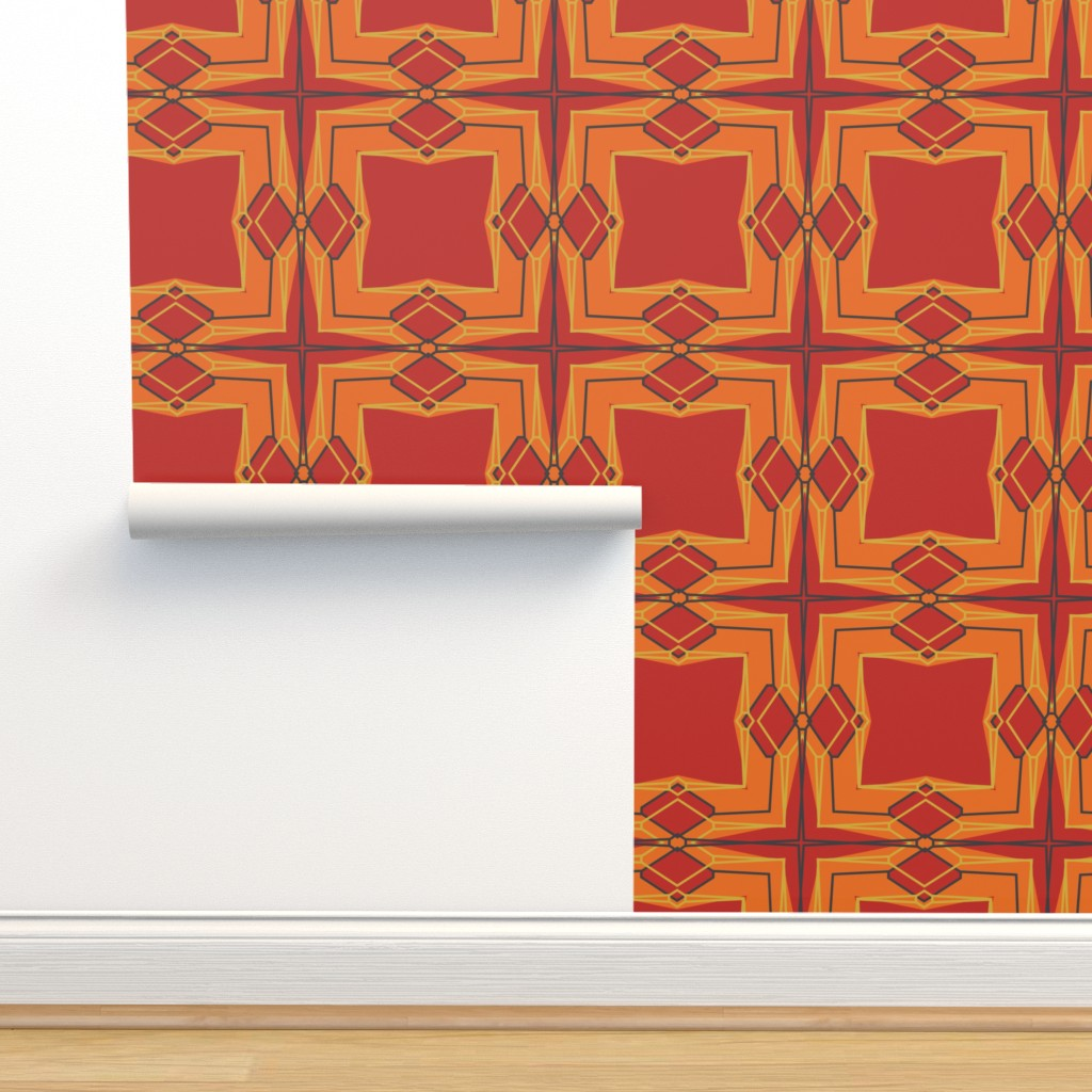 Isobar Durable Wallpaper featuring Art Deco - Fire by jane_oleary