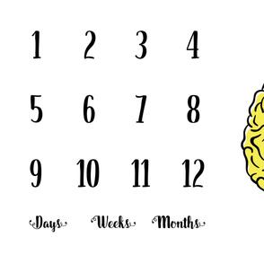 Brainy Milestone Blanket   Yellow