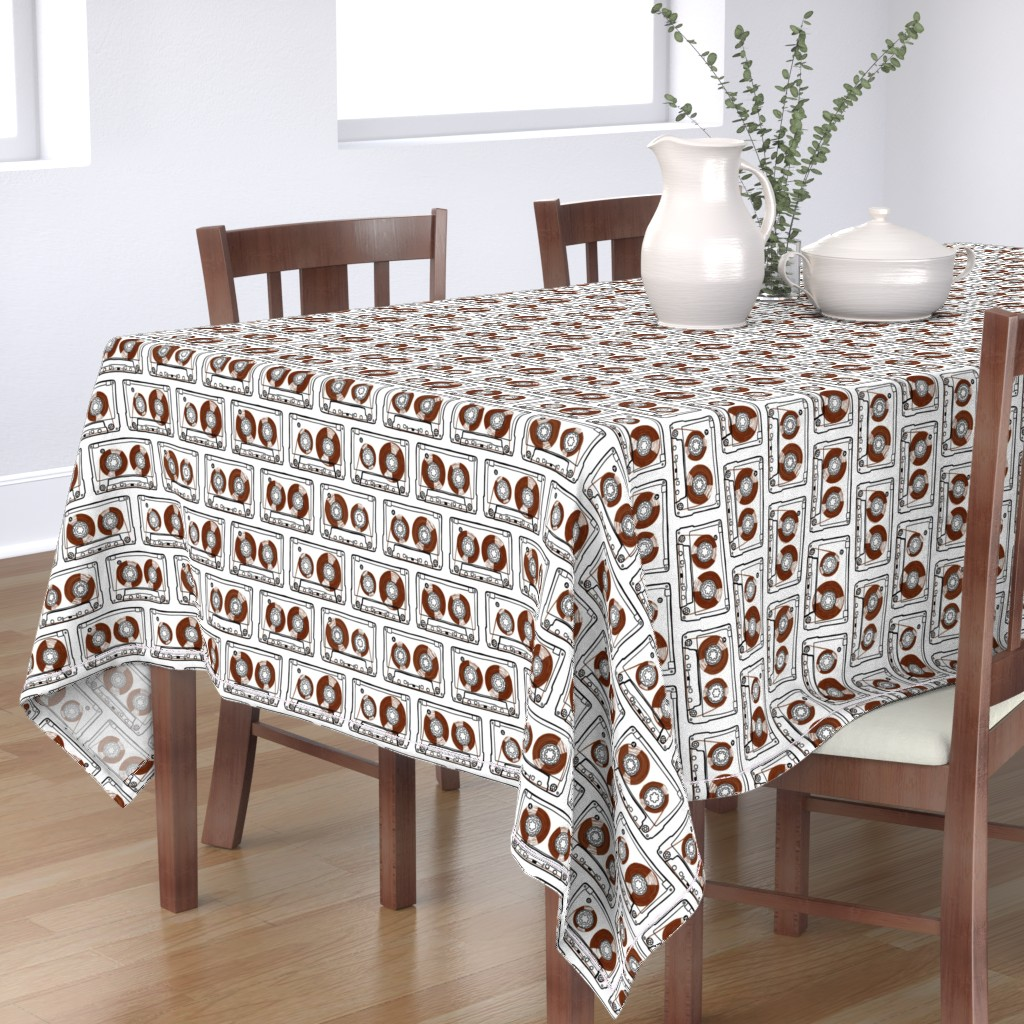 Bantam Rectangular Tablecloth featuring Doodle Tapes - Brown by autumn_musick