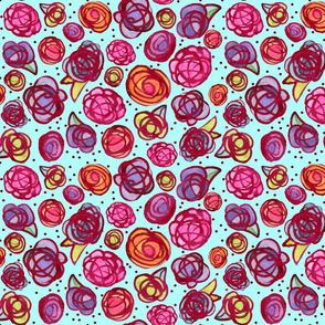 Inky Roses on Aqua