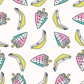 Fun Memphis Strawberry Banana Pattern, Seamless Vector Background Illustration