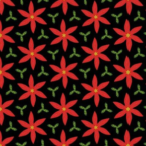 poinsettia and leaves black