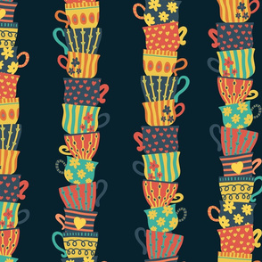 Stacked teacups retro style