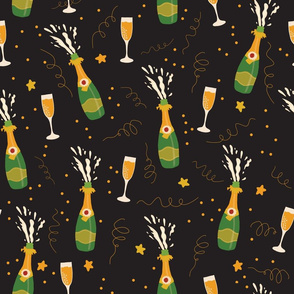 Let's celebrate! Champagne bottles and glasses black