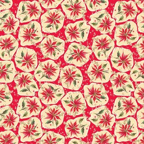 Poinsettia Floral Red Retro Christmas Stickers
