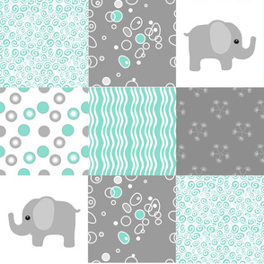 teal elephant quilt
