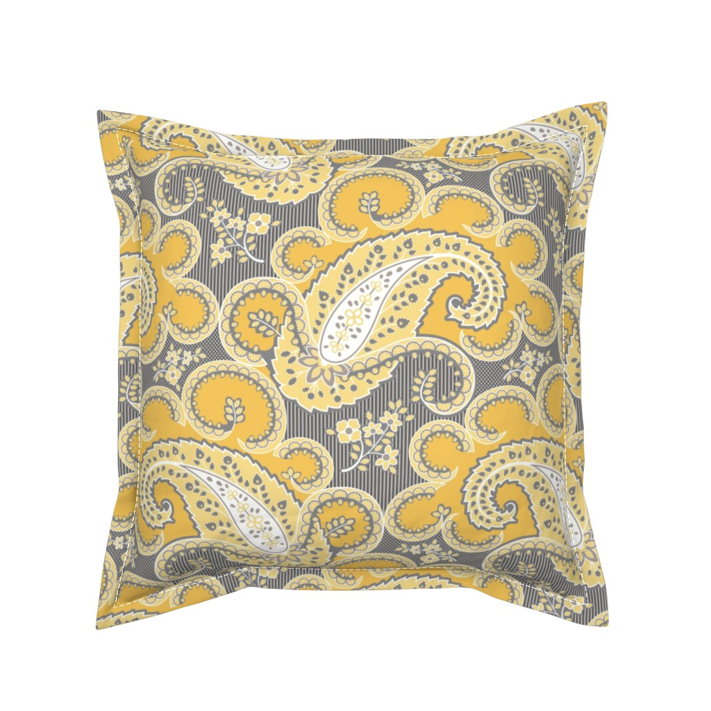 Serama Throw Pillow featuring 1810 Antique Paisley Grey Yellow p22 by tracymillerdesigns