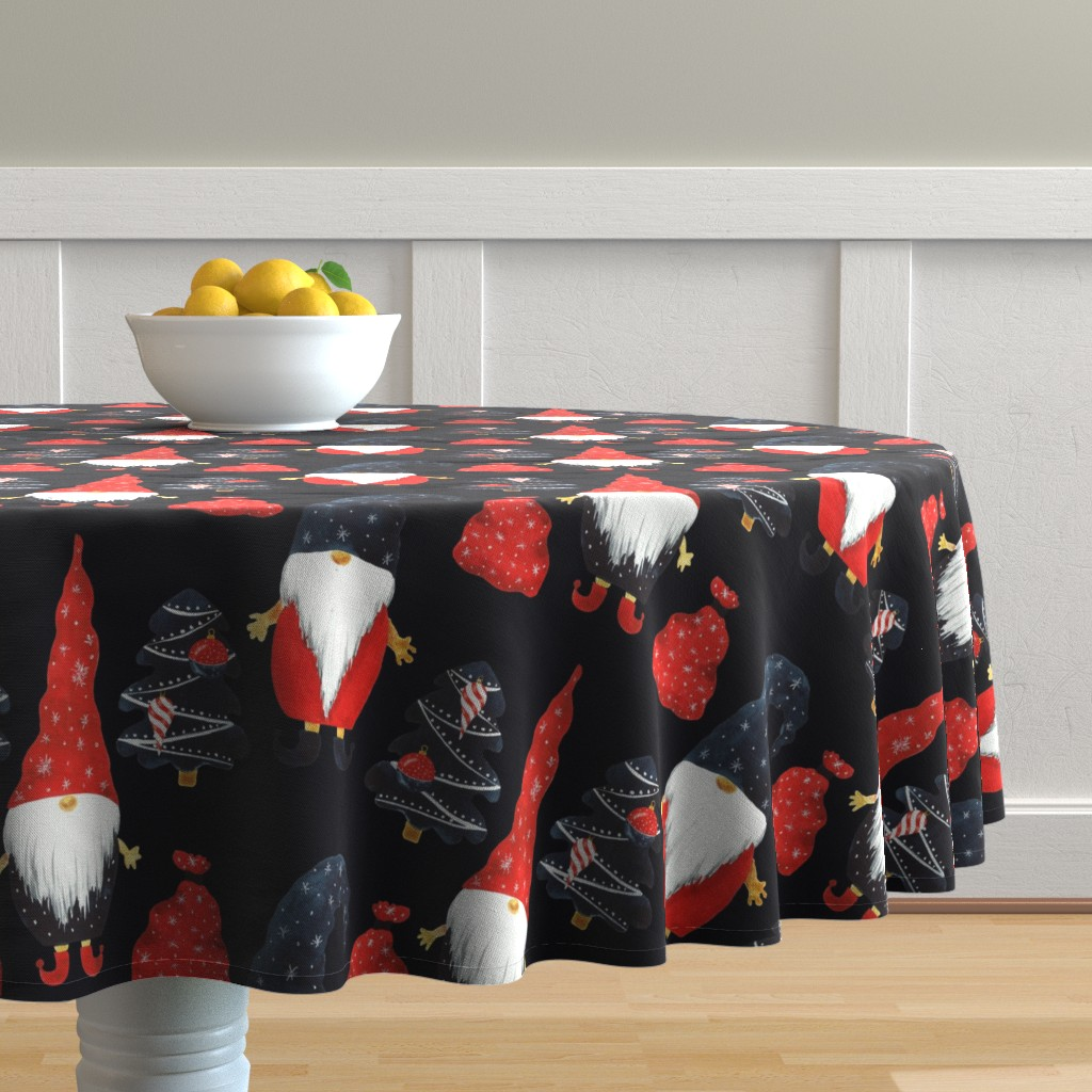Malay Round Tablecloth featuring Gnome Christmas by floramoon