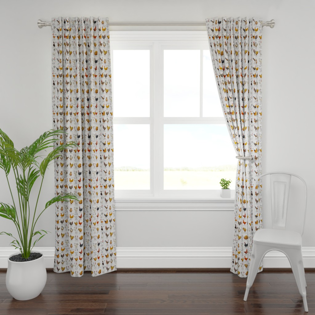 Plymouth Curtain Panel featuring Chickens of the World - fabric by mulberry_tree