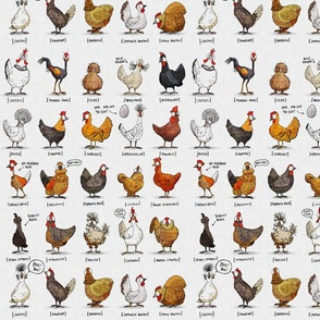 Chickens of the World - fabric