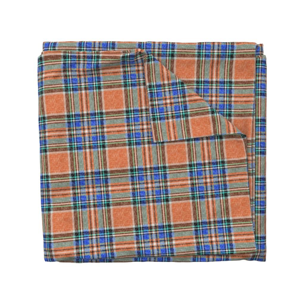 Wyandotte Duvet Cover featuring Ruby orange + blue Stewart plaid linen-weave by Su_G_©SuSchaefer by su_g