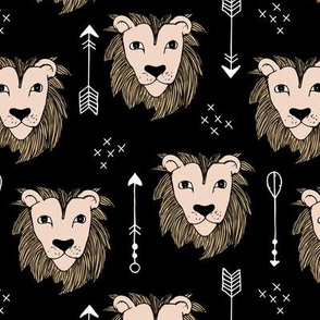 Cool winter lions and arrows safari night forest black copper