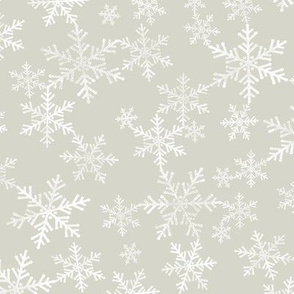 Lino Print Snowflakes | White Snowflakes on Beige / Light Warm Gray