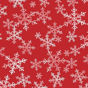 Red + White Lino Print Christmas Snowflake Pattern