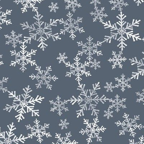 Lino Print Snowflakes | White Snowflakes on Dark Blue-Gray