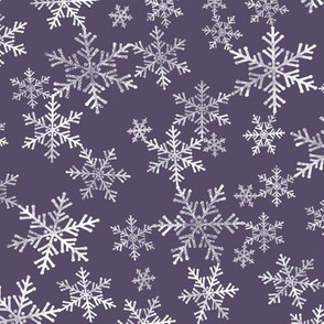 Lino Print Snowflakes | White Snowflakes on Dark Purple