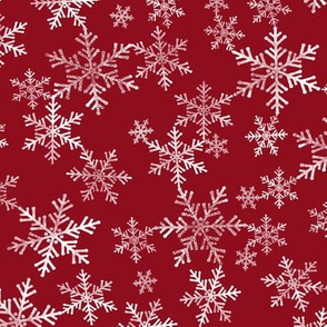 Lino Print Snowflakes | White Snowflakes on Dark Red