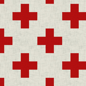 plus_one_linen_red_and_white