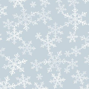 Lino Print Snowflakes | White Snowflakes on Dusty Blue