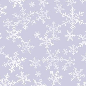 Lino Print Snowflakes | White Snowflakes on Dusty Purple