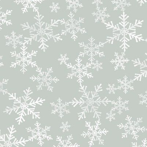 Lino Print Snowflakes | White Snowflakes on Light Gray Green