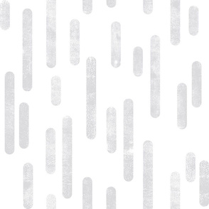 Pale Gray on White | Large Scale Inky Rounded Lines Pattern