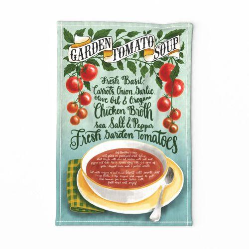 Garden Tomato Soup - Recipe Tea Towel