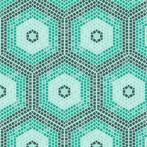 Mosaic Hexagon, Green
