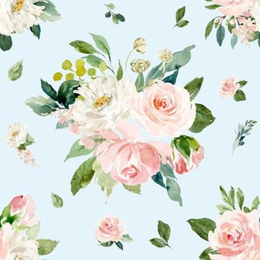 "8"" Eternal Blush Florals // Polar Blue"