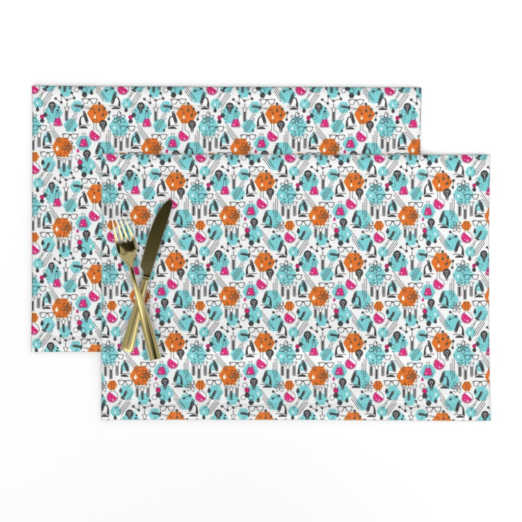 Lamona Cloth Placemats featuring Chemistry Lab - Modern Girl Ditsy Scale by heatherdutton