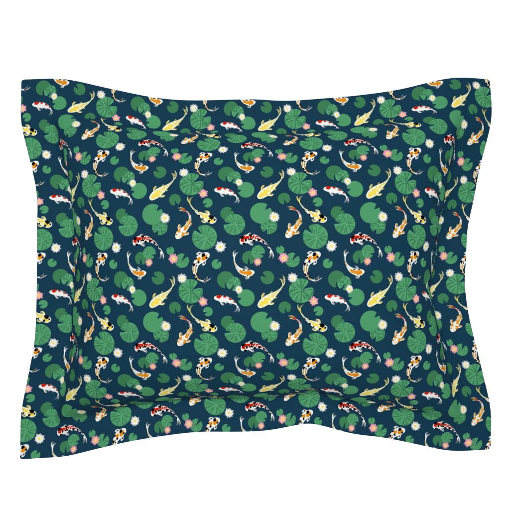 Sebright Pillow Sham featuring Koi pond seamless // small by lemon_chiffon