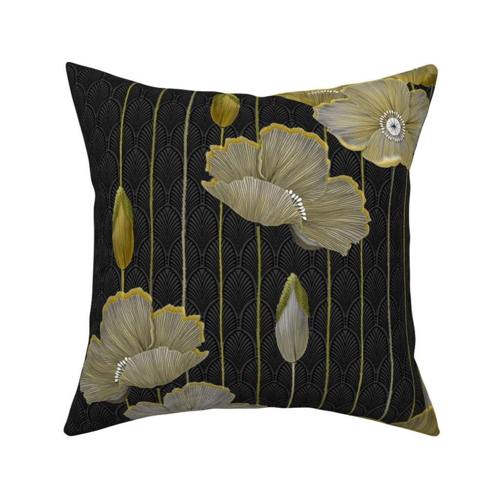 Catalan Throw Pillow featuring Big Golden Poppies Version 2  by j9design