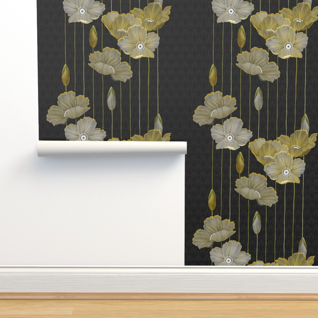 Isobar Durable Wallpaper featuring Big Golden Poppies Version 2  by j9design